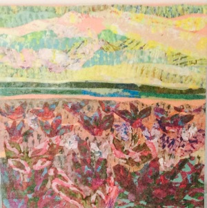 Champ fleuri Colllage-acrylique, 2014 10 x 10 po. Vendu