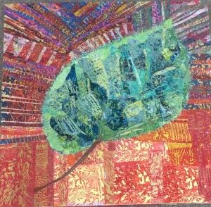 Feuille d'automne-1 Collage-acrylique, 2014 20 x 20 po Vendu