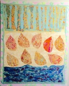 Feuilles lumineuses comme des bijoux Collage-acrylique, 2015 16 x 20 po. Vendu