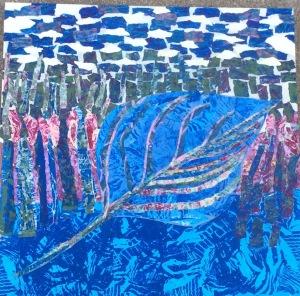 Feuille bleue Collage-acrylique, 2015 18 x 18 po. 200 $