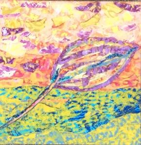 Feuille jaune-3 Collage-acrylique, 2015 10 x 10 po. 100 $