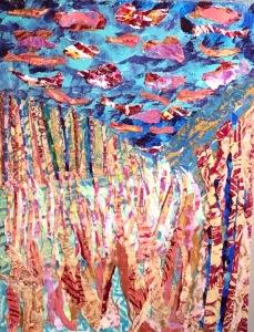 Rivière avant l'orage Collage-acrylique, 2015 12 x 16 po. 140 $