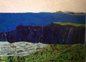 Forillon, 45 ans Acrylique et collage, 2015 16 x 12 po.