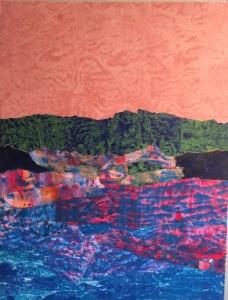 L'île de Kos et les réfugiés Acrylique et collage, 2015 12 x 16 po.