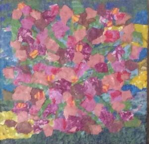 Arbuste fleuri Acrylique-collage, 2015 8 x 8 po.